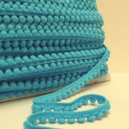 Galon à pompons bleu Turquoise