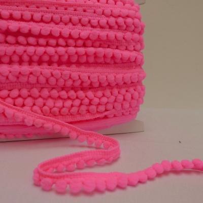 Galon à pompons rose fluo