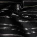 Stof in polyamide, katoen en elasthanne zwart met zilverkleurige strepen