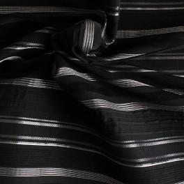 Stof in polyamide, katoen en elasthanne zwart met zilverkleurige lijnen