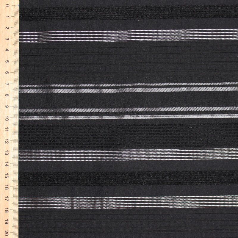 Fabric in polyamide, cotton and elasthanne black with silver plated lines