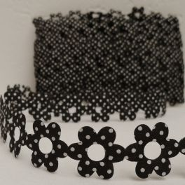 Galon fleurs Vichy noir et blanc