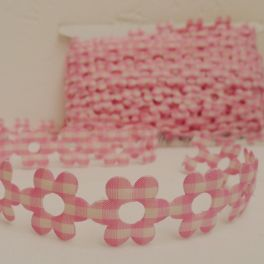 Galon fleurs Vichy rose et blanc