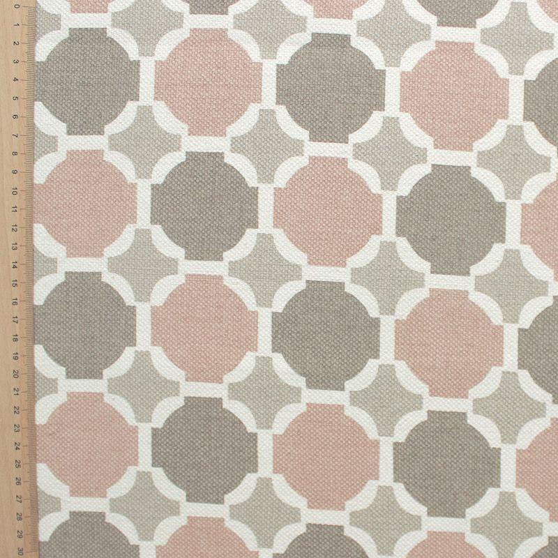 Beige katoen stof met beige, witte en bruine stippen