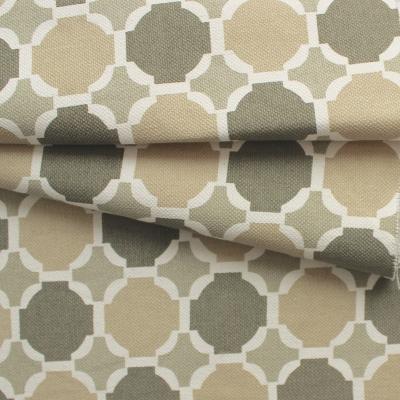 Beige katoen stof met gele, witte en bruine stippen