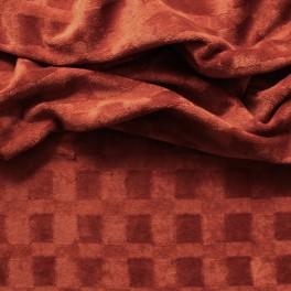 Tissu velours ambre rouge avec une trame ton sur ton