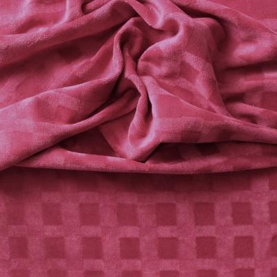 Tissu velours framboise avec une trame ton sur ton