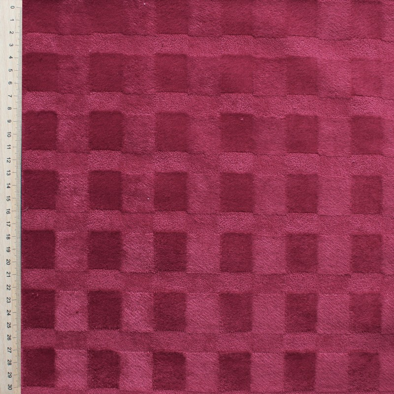 Tissu velours framboise motif ton sur ton for Tissus ameublement velours motif