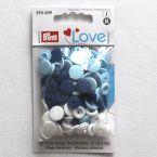 Boîte de 30 boutons pressions bleu, blanc