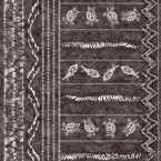 Black printed fabric with ethnic pattern