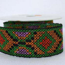 Galon jacquard Inca vert, orange et rouge
