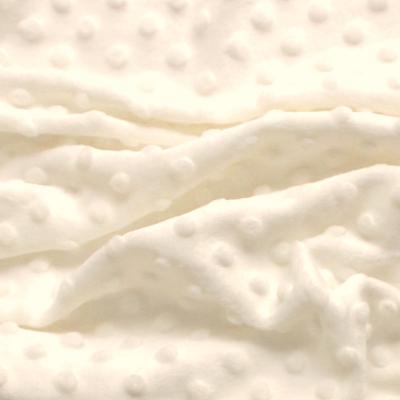 Minky Fleece Stof vanille met stippen in relïef