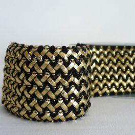 Ceinture élastique tressée noire et or