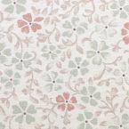 Tissu en coton imprimé petites fleurs vertes et roses