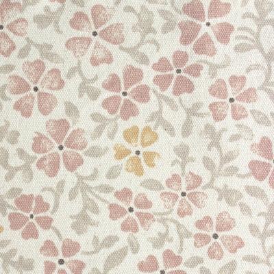 Beige katoen stof met grijse, roze en gele bloemen
