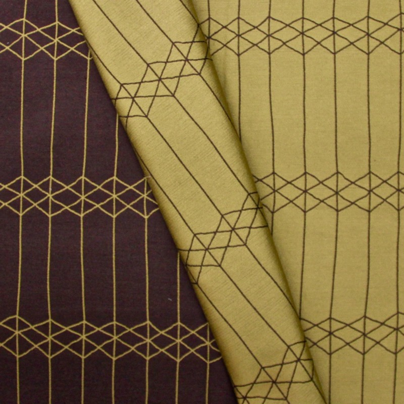 Reversible brown and green fabric with geometric design
