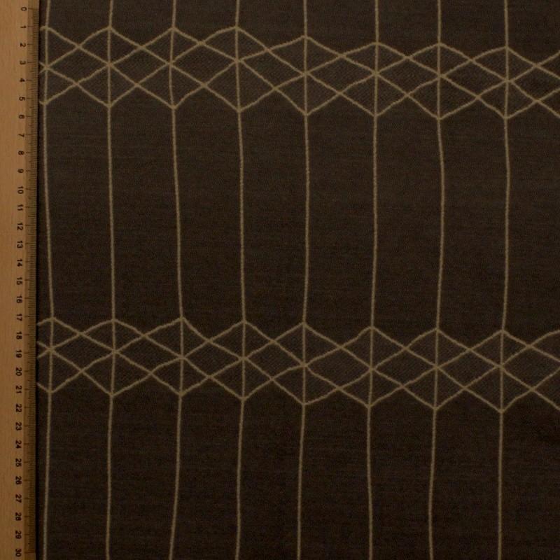 Tissu d'ameublement réversible à motifs géométrique marron et vert anis