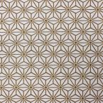 Cotton and polyester fabric with yellow geometric design