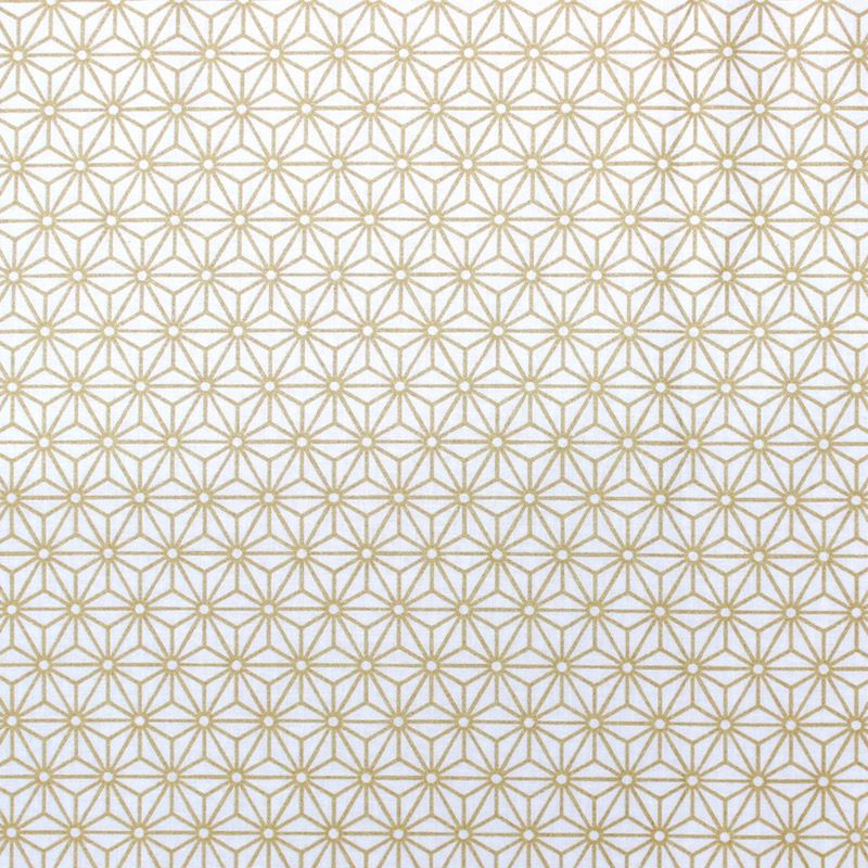 Cotton fabric with gold geometric design on white background