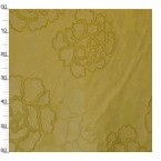 Gele polyester en viscose stof met gele bloemen