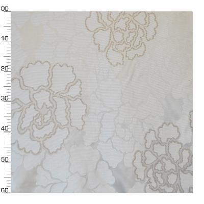Tissu en viscose et polyester à fleurs grises sur fond blanc