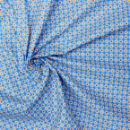 Cotton fabric with flowers design on a blue background
