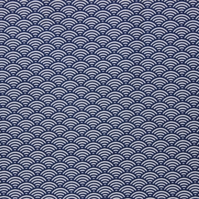 Cotton fabric with white and blue geometric design