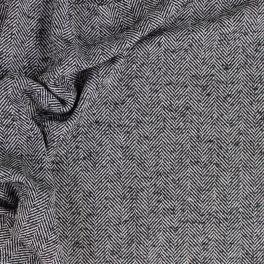 Tissu en laine à chevrons noir et blanc
