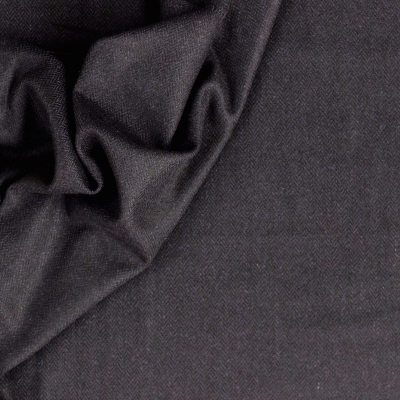 Tissu en laine bleu marine à chevrons
