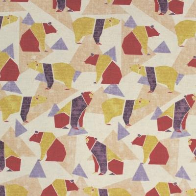 tissu en coton motif d 39 ours origami rouge mauve et jaune kokka origami bear purple. Black Bedroom Furniture Sets. Home Design Ideas