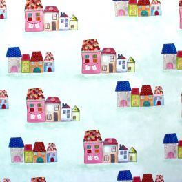 Katoen Meubelstoffen met naïeve tekeningen van huizen