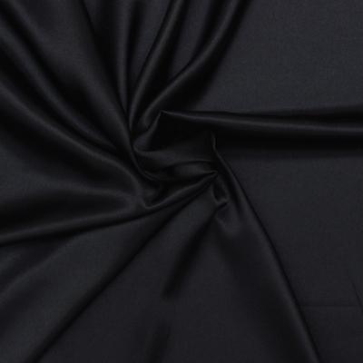 Polyester fabric skin look soft black uni