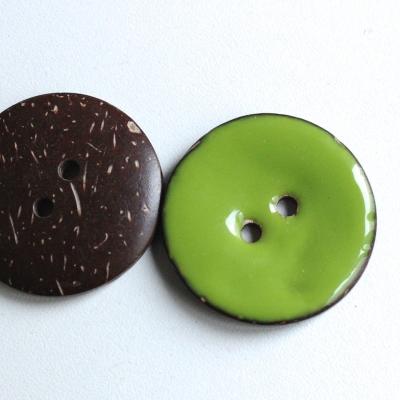 Bouton en coco uni vert 3 cm