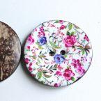 Bouton en coco à fleur rose et bleu 4 cm