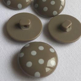 Taupe polyester button with white dots