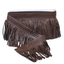 Braid simili leather chocolate with fringes
