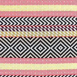 Jacquard fabric with red geometric design on a beige background