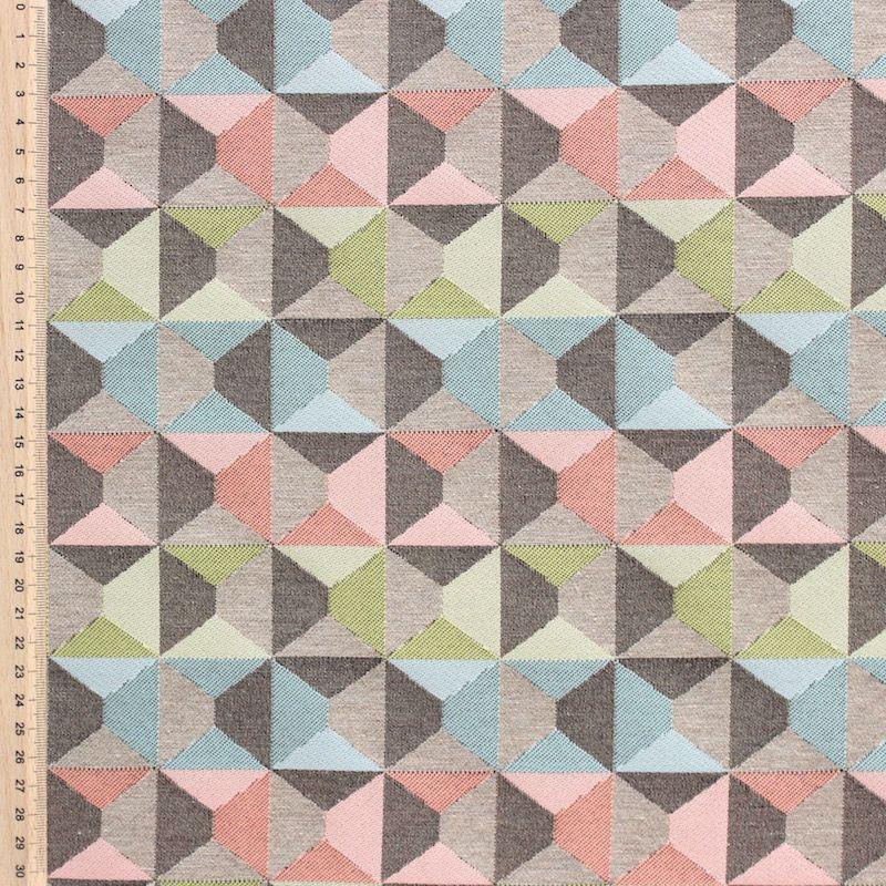 Jacquard stof met geometrisch motief in pasteltinten