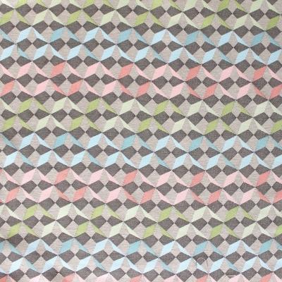 Tissu en coton à motifs géométriques rouge, bleu, vert et blanc sur fond brun