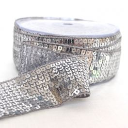Grey bias tape with shiny sequins