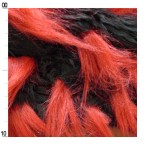 Imitiatiebont  met rood en zwart lang haar