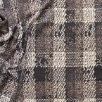 Thick black elastic jersey fabric plaid beige and white