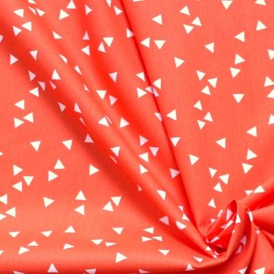 Coton léger imprimé de triangles blancs sur fond orange