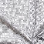 Coton léger imprimé de carrés gris sur fond blanc