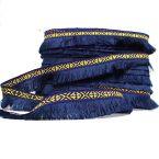 Geweven lint met Inka motief en marineblauwe franjes