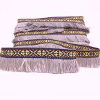 Geweven lint met Inka motief en grijs-paarse franjes