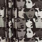 Tissu jacquard  à motifs de visages gris argent et noir