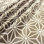 Cotton and polyester fabric with dark grey geometric design