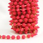 Galon clous métal doré et rose  fushia vif