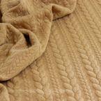 Bruingele sweatshirtstof met gevlochten motief, achterzijde in fleece